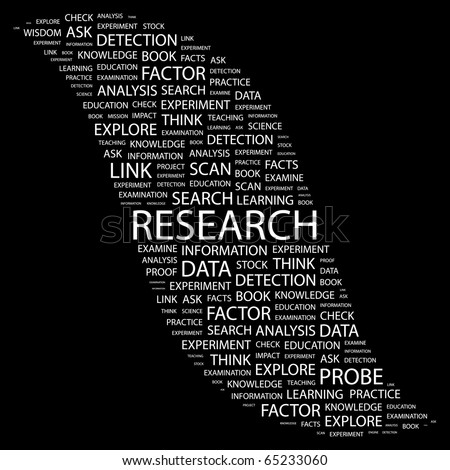 RESEARCH. Word collage on black background. Illustration with different association terms. - stock vector