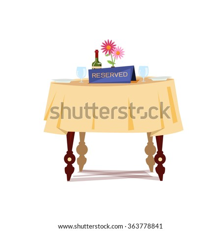 Reserved sign on the table in restaurant. Reserved Table concept - vector illustration - stock vector