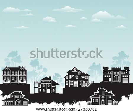 Residence on hill with beautiful nature, vector layered. - stock vector