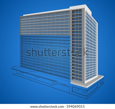 Resident modern building vector design wireframe  scene on a blue background