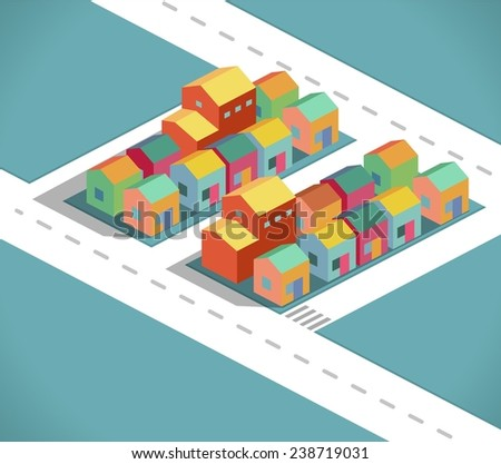 Residential and small city in a isometric style vector - stock vector