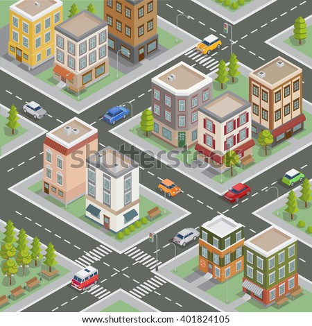 Residential Area. Isometric Cityscape. Buildings and Houses. Vector illustration - stock vector