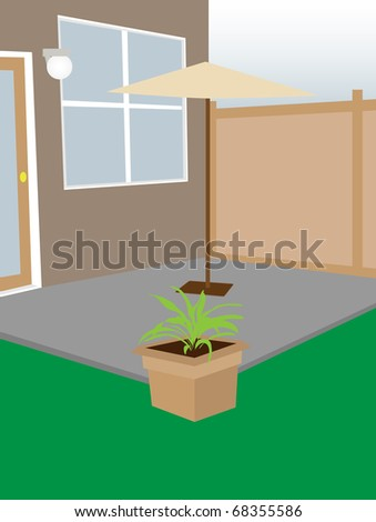 Residential backyard enclosed courtyard umbrella and plant editable vector illustration
