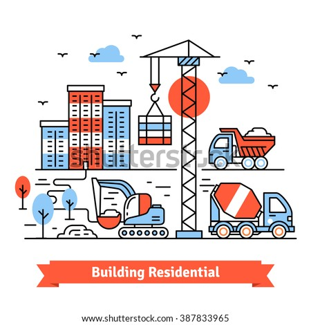 Residential building site and machinery composition. Thin line art icons set. Flat style illustrations isolated on white. - stock vector
