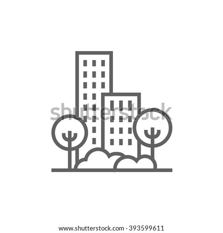 Residential building with trees line icon. - stock vector