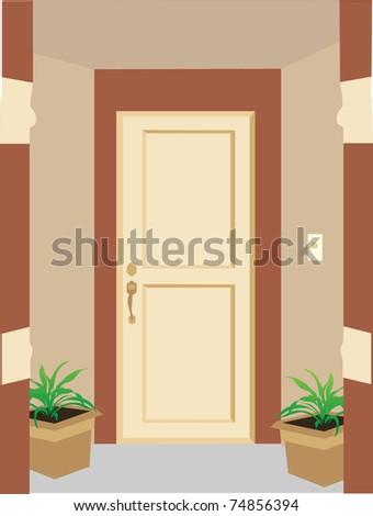 Residential entrance doorway pillars, plants, enclosed editable vector illustration - stock vector