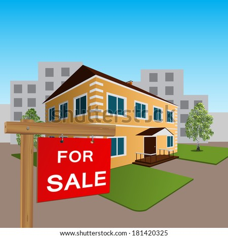 residential house for sale sign and wooden - stock vector