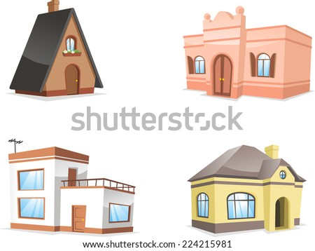 residential house set. with Hotel, Inn, Mansion, Pension, Row House, Farmhouse, House, Roof, Roof Tile vector illustration.  - stock vector