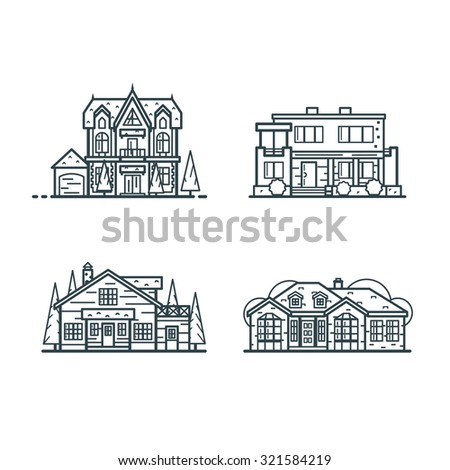 Residential Houses Icons In Minimal Thin Line Style Modern House And Gothic North