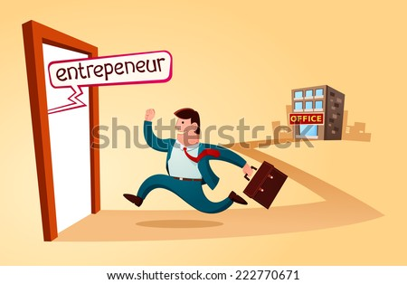 resign from the old job and start to build business - stock vector