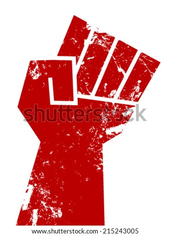 resistance fist red  - stock vector