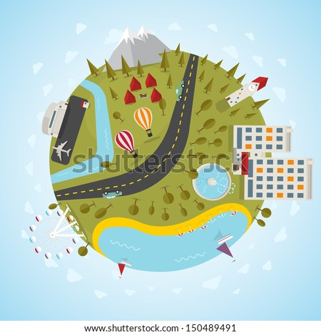 Resort planet. Vector illustration. - stock vector