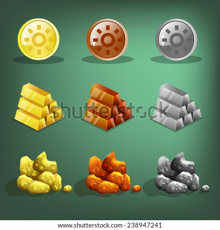 Resource icons for games. Gold, silver and copper. Vector illustration. - stock vector