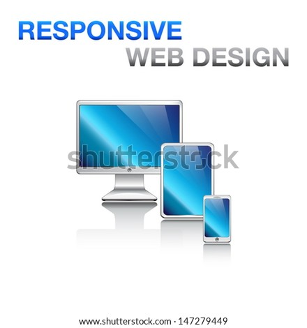 Responsive design for web: computer screen, smartphone, tablet isolated on white. Vector icons set. - stock vector