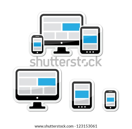 Responsive design for web - computer screen, smartphone, tablet labels set - stock vector