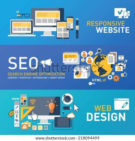 Responsive design - SEO -webdesign - stock vector