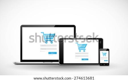 Responsive e-commerce web template - stock vector
