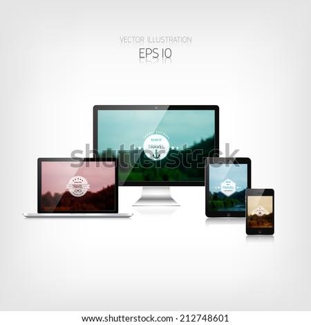 Responsive hipster travel web design. Adaptive user interface. Digital devises. Laptop, tablet, monitor, smartphone. Web site template concept. - stock vector