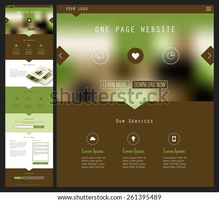 Responsive landing page or one page website template in flat design with modern blurred header background - stock vector