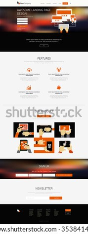 Responsive landing page or one page website template in flat design with modern blurred header background and trendy vector illustrations - stock vector