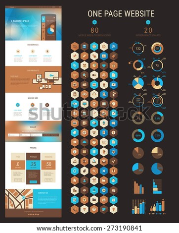 Responsive landing page or one page website template in flat design with modern blurred polygonal header background and 80 hexagonal icons and 20 infographics packs - stock vector