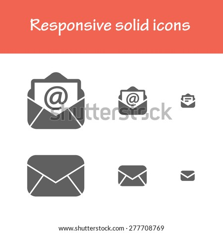responsive solid post-mail icons. for computer, tablet & mobile interface - stock vector