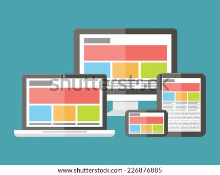 Responsive web design, application development and page construction. Flat style vector illustration. - stock vector