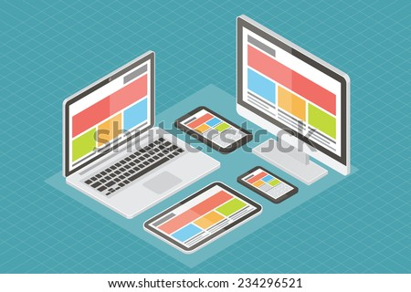 Responsive web design, computer equipment, application development and page construction. Responsive website. Isometric 3d flat responsive vector illustration. - stock vector