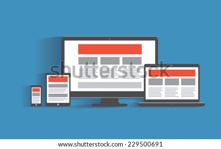 Responsive web design concept. Different electronic devices with website template on the screen. Desktop computer, tablet pc, laptop, smartphone. Flat design illustration, eps 10 vector - stock vector