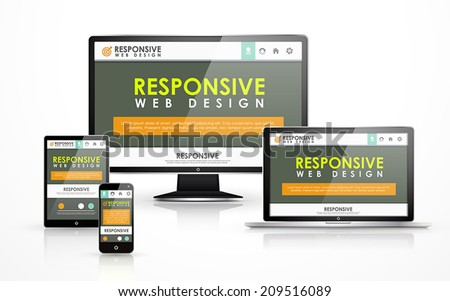 responsive web design concept in flat screen TV, tablet, smart phone and laptop - stock vector