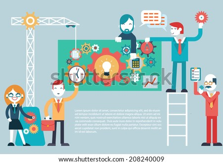 Responsive web design cross browser compatibility development programming PC mobile phone device hands idea planning ?oncept icons set modern trendy flat vector illustration - stock vector