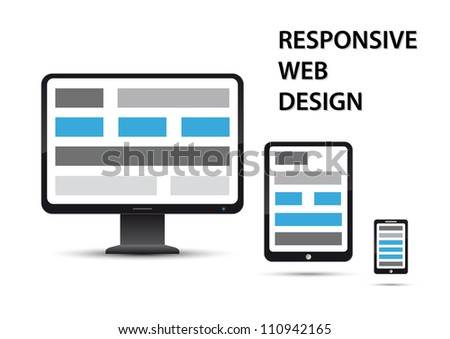 responsive web design, elements are displayed on different devices - stock vector