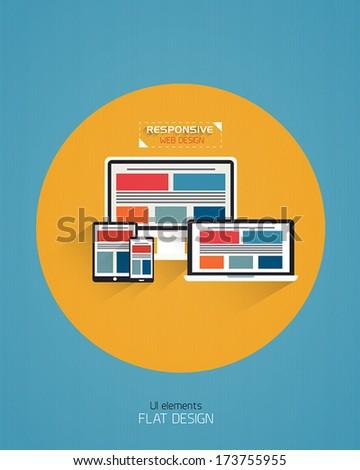 Responsive Web Design - Flat Style Design. Vector - stock vector