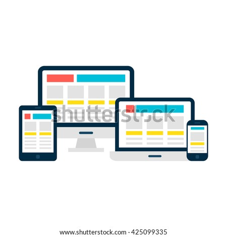 Responsive Web Design Flat Style Gadgets. Vector Illustration of Laptop Desktop Tablet Phone isolated Over White. - stock vector