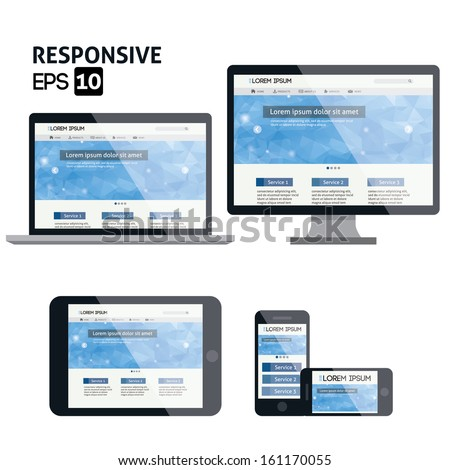 responsive web design for different devices  - stock vector