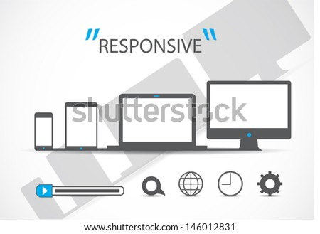 responsive web design in electronic devices, vector-eps 10 - stock vector