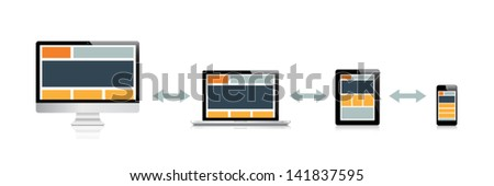 Responsive web design in electronic devices vector illustration - stock vector