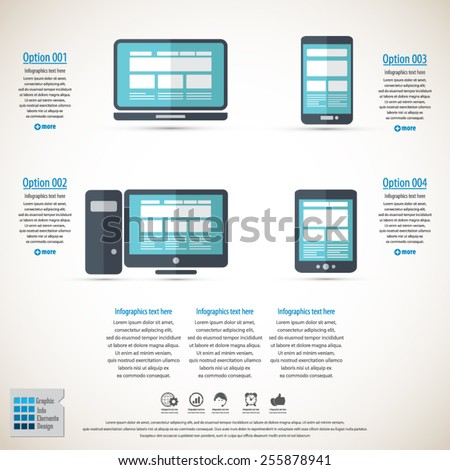 Responsive web design infographic- Responsive web design on different devices-EPS10 vector - All elements are in separate layer. - stock vector