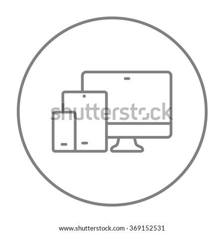 Responsive web design line icon. - stock vector