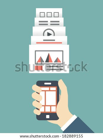 Responsive web design of mobile application for device vector