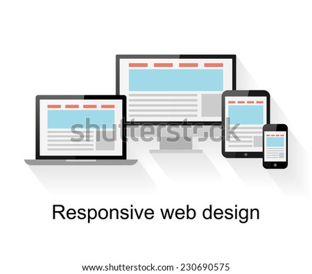 Responsive web design on computer, tablet PC, notebook and smart phone on white background  - stock vector