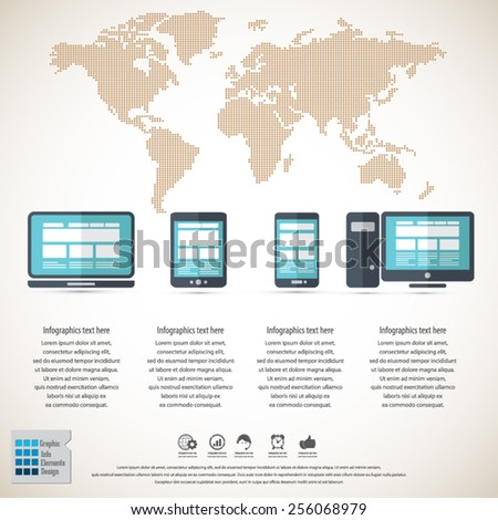 Responsive web design on different devices infographic / background with dotted world map . EPS10 vector.All elements in separate layers. - stock vector