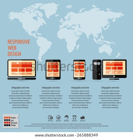 Responsive web design on different devices infographic / background with dotted world map . EPS10 vector. - stock vector