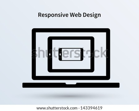 Responsive Web Design Screens Devices, isolated; laptop, tablet and mobile phone. Vector illustration. - stock vector