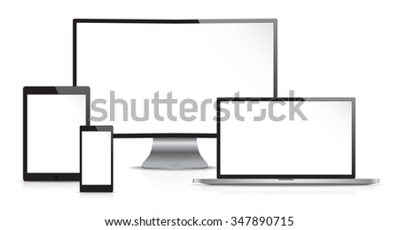 Responsive Web Design. Vector of Non Branded Electronic devices. Front view. Copy Space. - stock vector