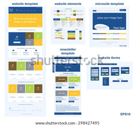 responsive web elements for business or non-profit organization - stock vector