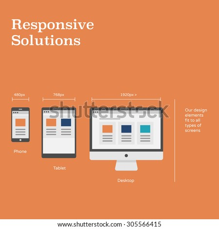 Responsive website layouts on different devices - flat design illustration of phone, tablet & desktop computer with one website - stock vector