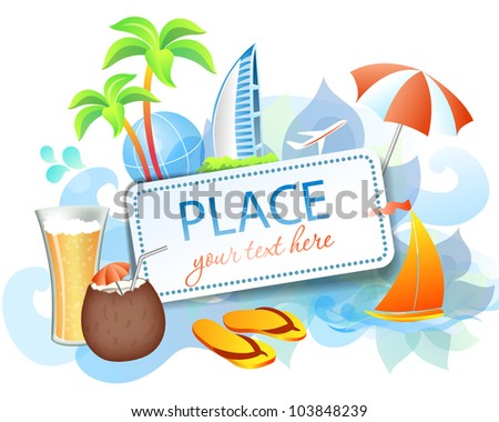 Rest and travel colorful frame: eps10 vector background - stock vector