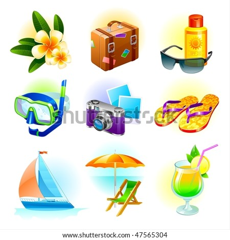 Rest and travel vector set - stock vector