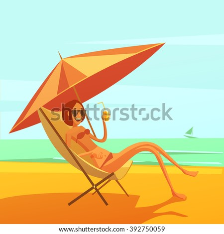 Rest at sea background with woman in a chaise lounge drinking cocktail cartoon vector illustration - stock vector